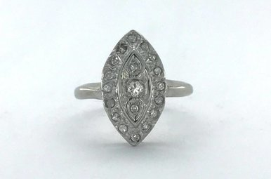 14k White Gold 3/8ctw Diamond Marquise Vintage Signet Ring (Size 4)