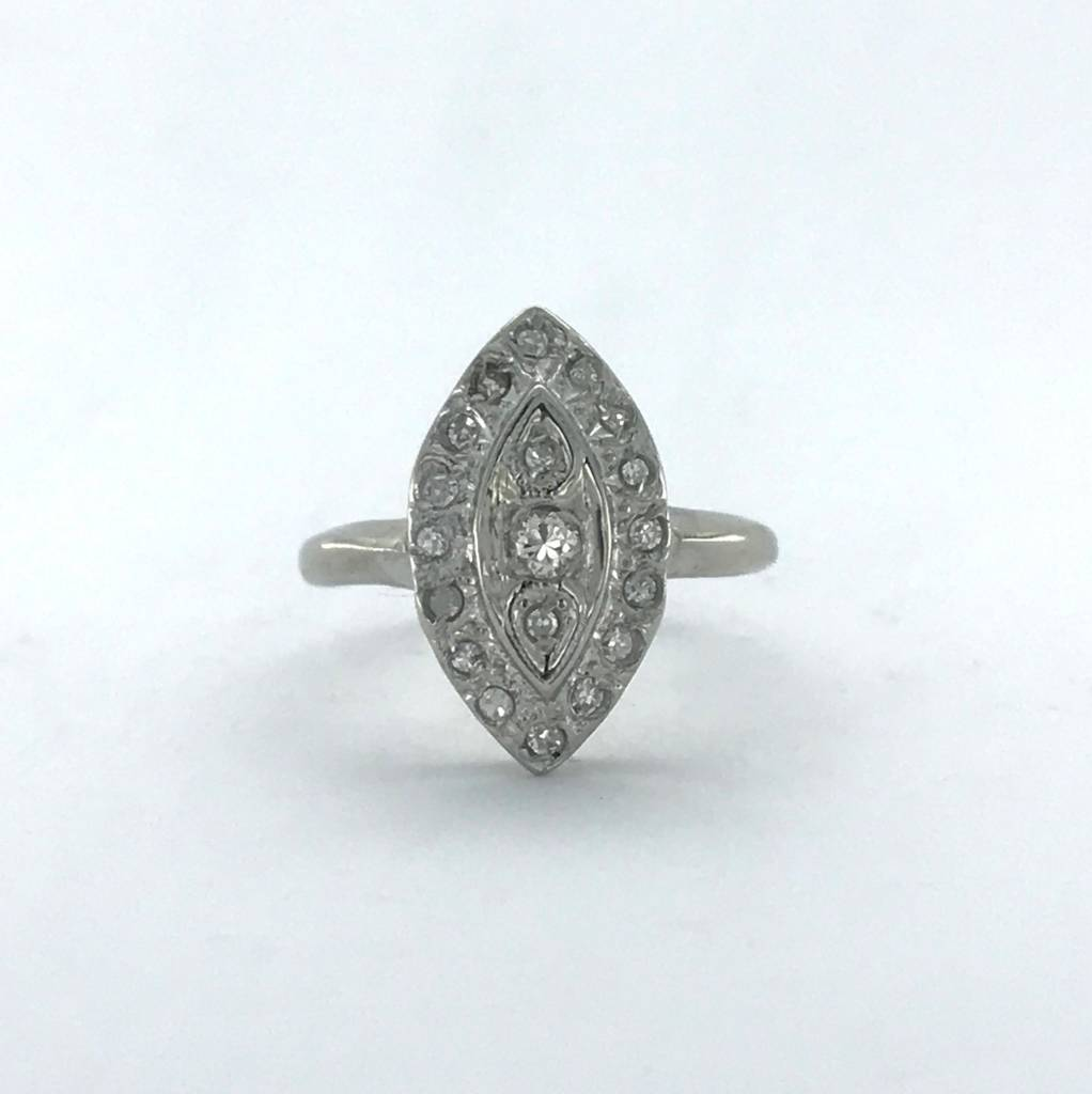 Brentwood 14k White Gold 3/8ctw Diamond Marquise Vintage Signet Ring (Size 4)