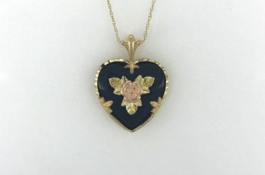 """10k Two-Tone Yellow/Rose Gold Onyx Heart Pendant Necklace 18"""""""