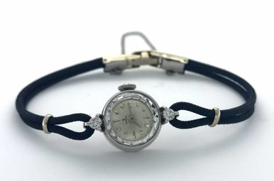 Ladies Dress Vintage Rolex Watch (Diamond Accented Cord Strap)