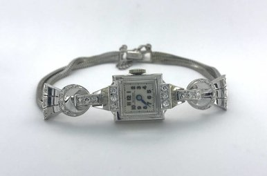 Ladies 14k White Gold Diamond Vintage Hallmark Watch