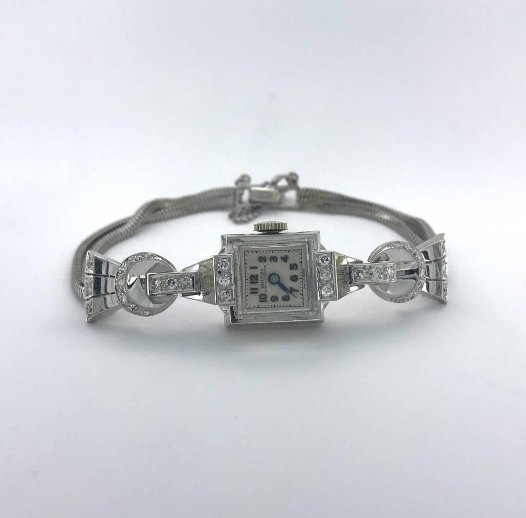 Brentwood Ladies 14k White Gold Diamond Vintage Hallmark Watch