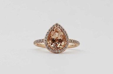14KR .31CTW-DIA 1.89CT-MO MORGANITE & DIAMOND LADIES PEAR HALO RING