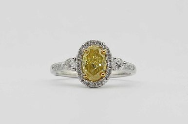 18KW 1.02CT-CTR 1.33CTW OVAL HALO ENGAGEMENT RING (NATURAL FANCY YELLOW OVAL CENTER DIAMOND)
