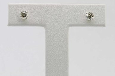 14KW 1/2CTW ROUND BRILLIANT DIAMOND STUD EARRINGS