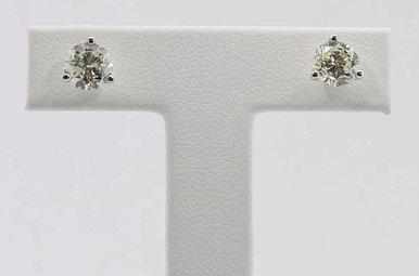14KW 2CTW ROUND BRILLIANT DIAMOND MARTINI SET STUD EARRINGS