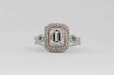 18KW/R 1.15CT-EC I/VS2 GIA 1.56CTW HALO ENGAGEMENT RING (EMERALD CUT CENTER DIAMOND, PINK & WHITE ROUND BRILLIANTS)