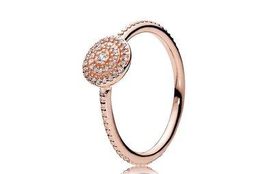 PANDORA Ring Radiant Elegance, Clear CZ PANDORA Rose - Size 52