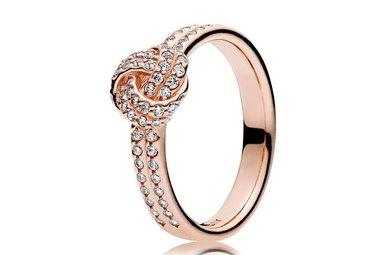 PANDORA Ring Sparkling Love Knot, Clear CZ PANDORA Rose - Size 56