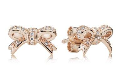 PANDORA Earrings Sparkling Bow, Clear CZ PANDORA Rose