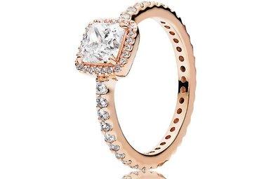 PANDORA Ring Timeless Elegance with Clear CZ PANDORA Rose - Size 58