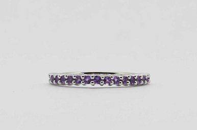 10KW AMETHYST STACKABLE LADIES FEBRUARY BIRTHSTONE BAND