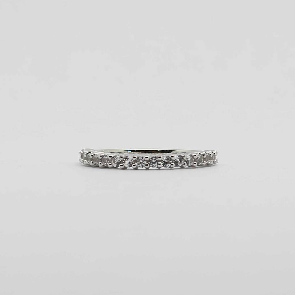BOTH 10K White Gold Created White Sapphire Stackable Ladies Band