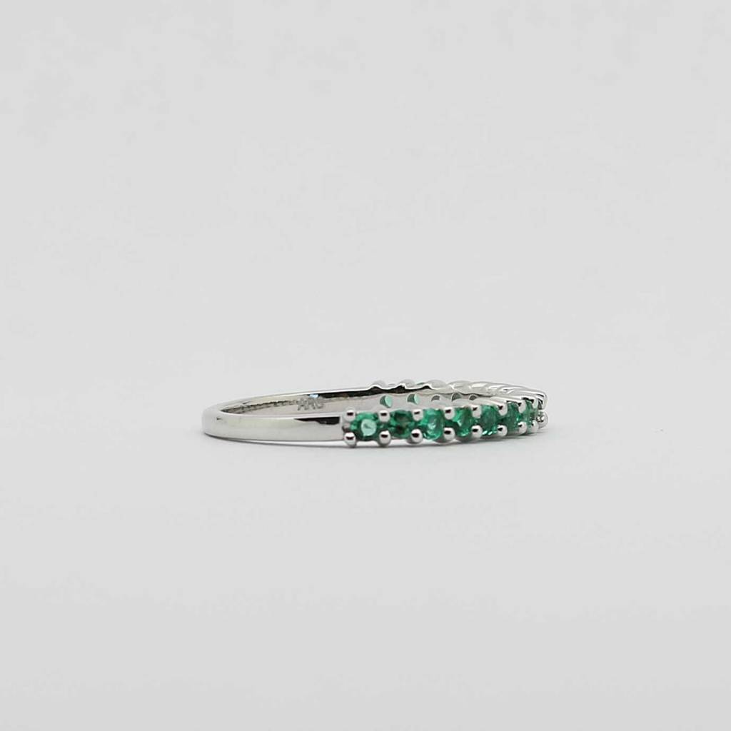 BOTH 10K White Gold Created Emerald Stackable Ladies Band