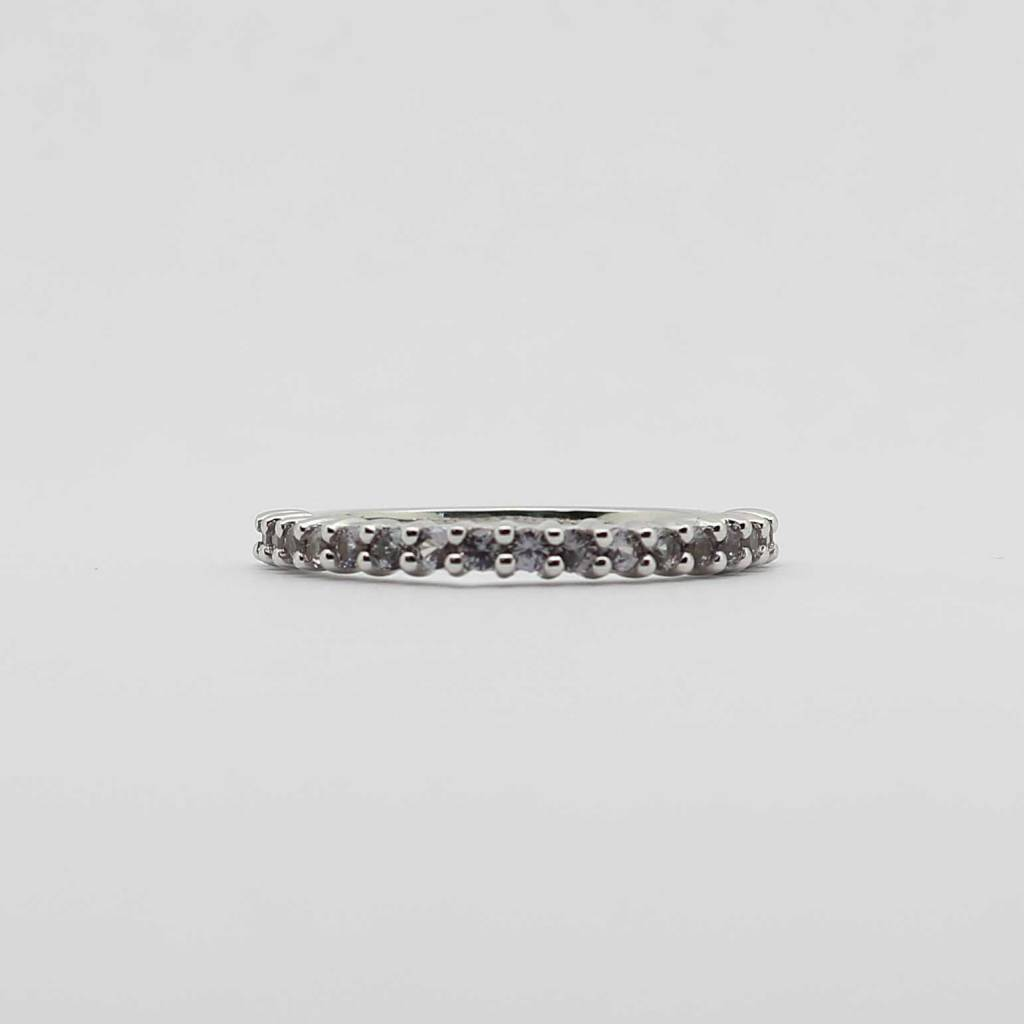 BOTH 10K White Gold Created Alexandrite Stackable Ladies Band