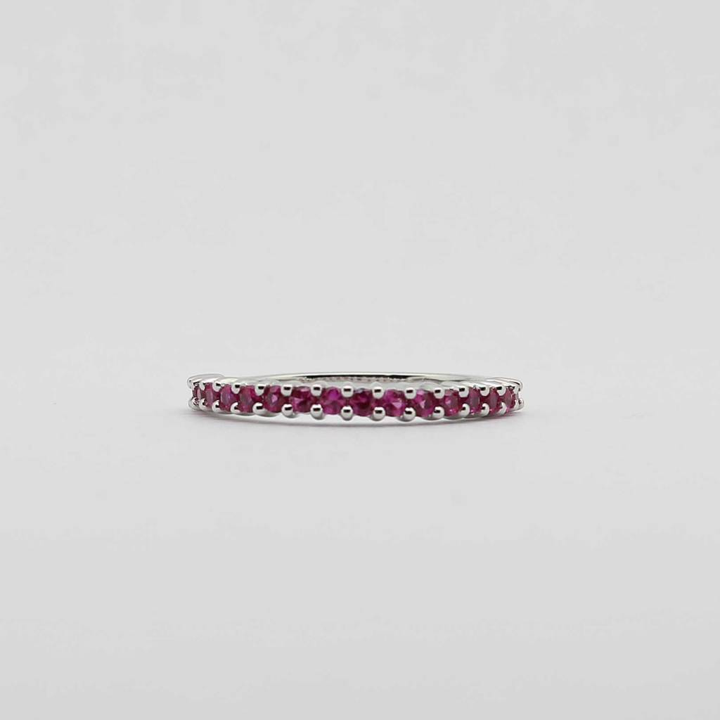 BOTH 10K White Gold Created Ruby Stackable Ladies Band