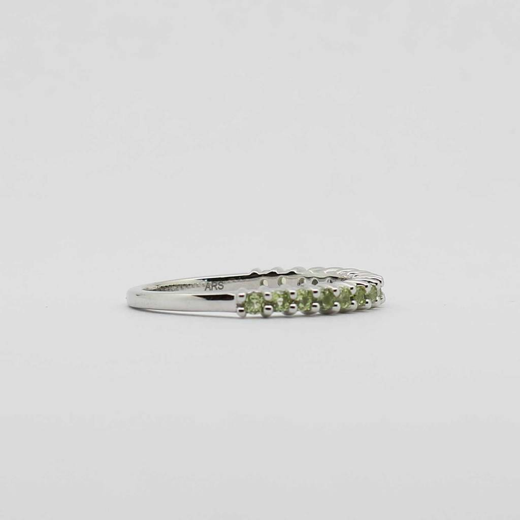 BOTH 10K White Gold Peridot Stackable Ladies Band