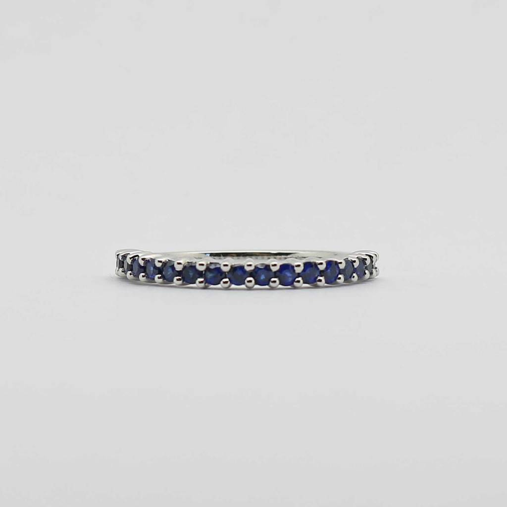 BOTH 10K White Gold Created Blue Sapphire Stackable Ladies Band