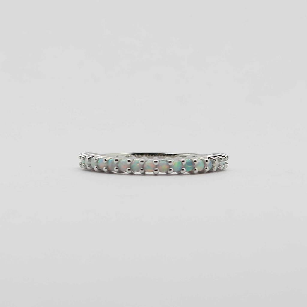 BOTH 10K White Gold Opal Stackable Ladies Band