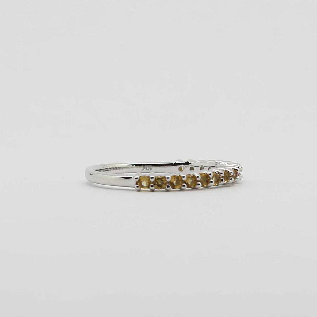 BOTH 10K White Gold Citrine Stackable Ladies Band