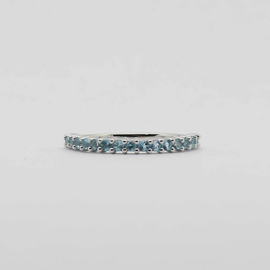 BOTH 10K White Gold Blue Topaz Stackable Ladies Band