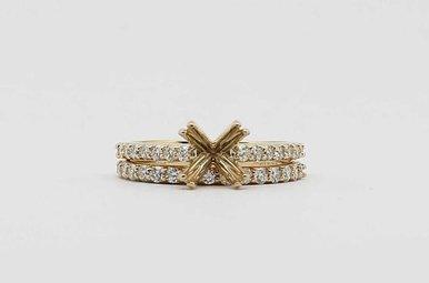 14KY .78CTW ROUND BRILLIANT DIAMOND SEMI MOUNT WEDDING SET
