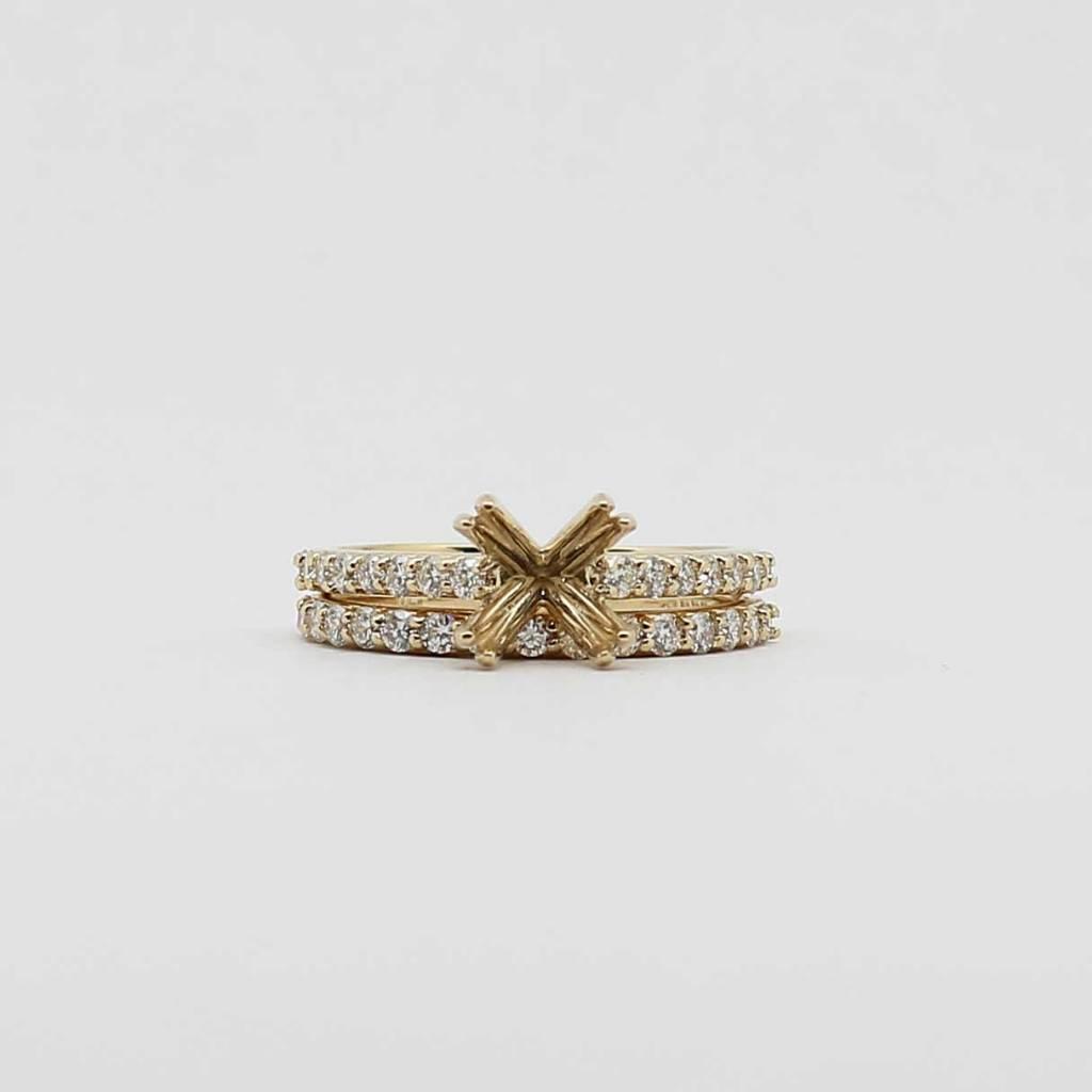 Mount Juliet 14K Yellow Gold Semi Mount Wedding Set with .78ctw Diamonds