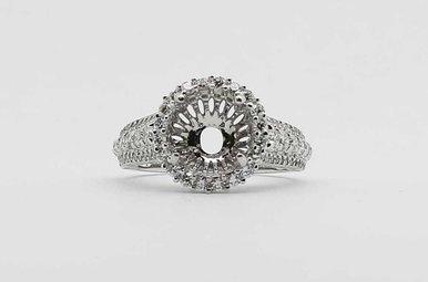 14KW 1.2CTW ROUND BRILLIANT DIAMOND HALO SEMI MOUNT ENGAGEMENT RING