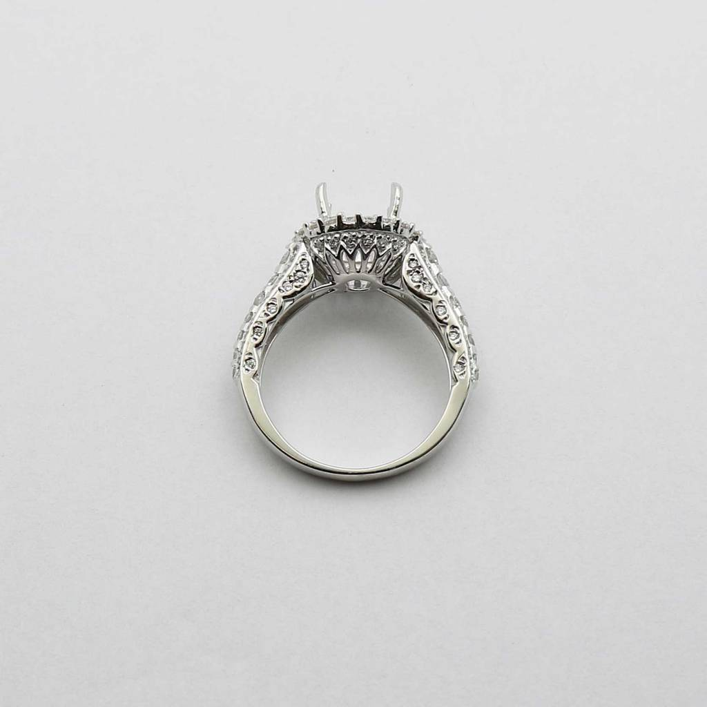 Mount Juliet 14K White Gold Halo Semi Mount Engagement Ring with 1.2ctw Diamonds
