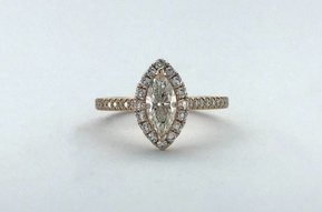 14k Rose Gold 0.94ctw (.59ct I/SI1 Marquise Center) Diamond Halo Engagement Ring (Size 6)