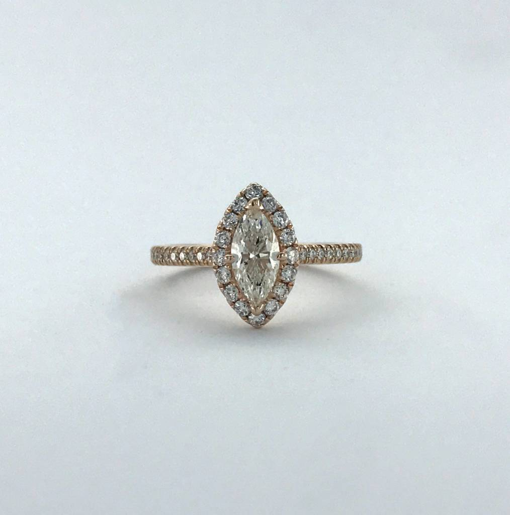 Brentwood 14k Rose Gold 0.94ctw (.59ct I/SI1 Marquise Center) Diamond Halo Engagement Ring (Size 6)