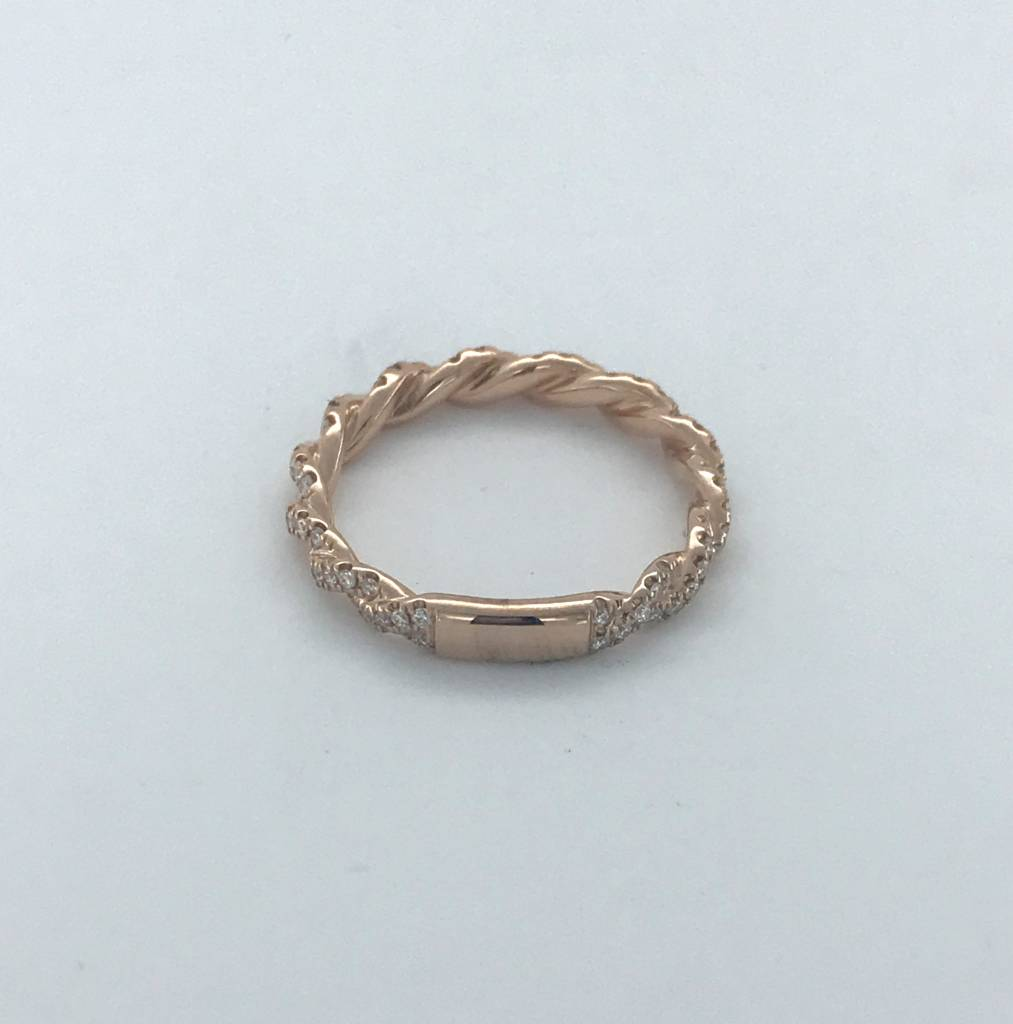 BOTH 14k Rose Gold .41ctw Diamond Twisted Barely There Stackable Wedding Band (Size 6)