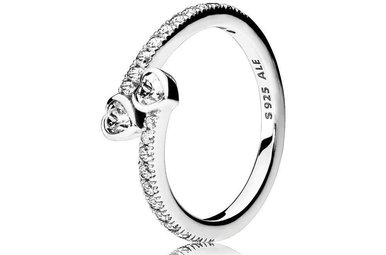 PANDORA Ring, Forever Hearts, Clear CZ - Size 56