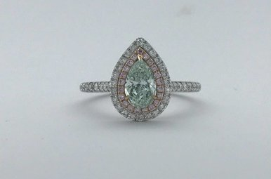18k White/Rose Gold 0.64ct Fancy Very Light Green Pear Diamond & Fancy Pink Diamond Double Halo Engagement Ring (Size 6)