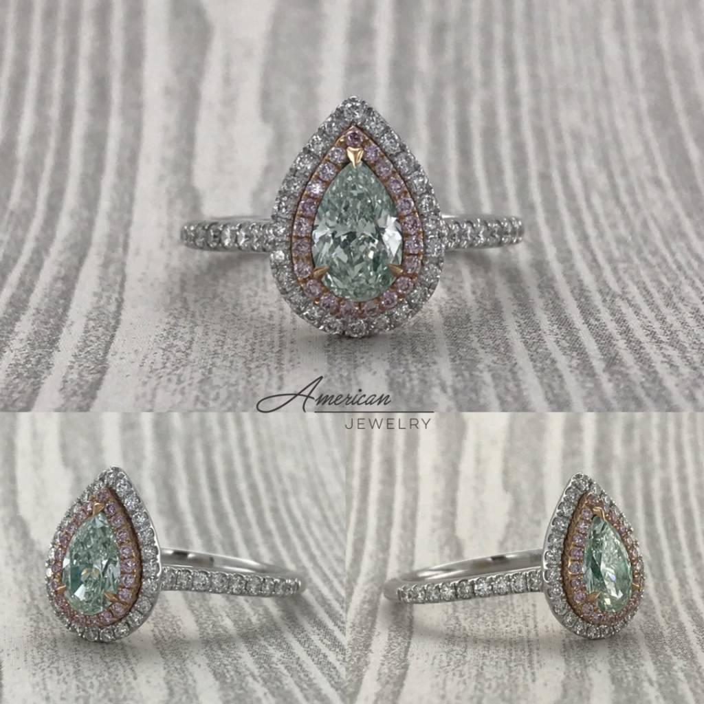 Brentwood 18k White/Rose Gold 0.64ct Fancy Very Light Green Pear Diamond & Fancy Pink Diamond Double Halo Engagement Ring (Size 6)
