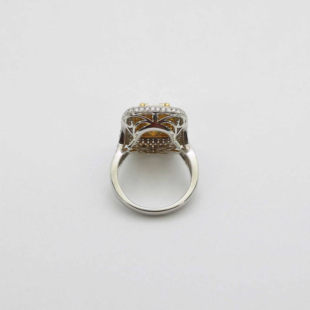 Mount Juliet 14K White Gold Halo Engagement Ring with 3.53ct Emerald Cut Center Diamond & 1-1/2ctw Pave' Set White & Yellow Diamonds