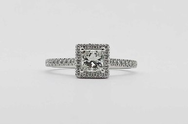 14KW .53CT-PC G-H/I1 1/3CTW-RB HALO ENGAGEMENT RING WITH PRINCESS CUT CENTER DIAMOND
