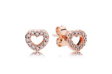 PANDORA Rose Stud Earrings, Captured Hearts, Clear CZ