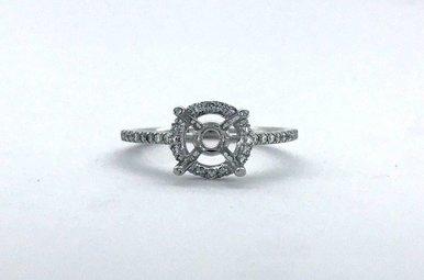 14k White Gold .20ctw Diamond Round Halo Semi Mount Engagement Ring (Size 6)