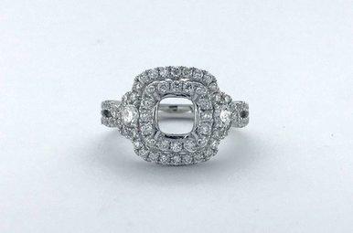 14k White Gold .42ctw Diamond Double Cushion Halo Semi Mount Engagement Ring (Size 6)