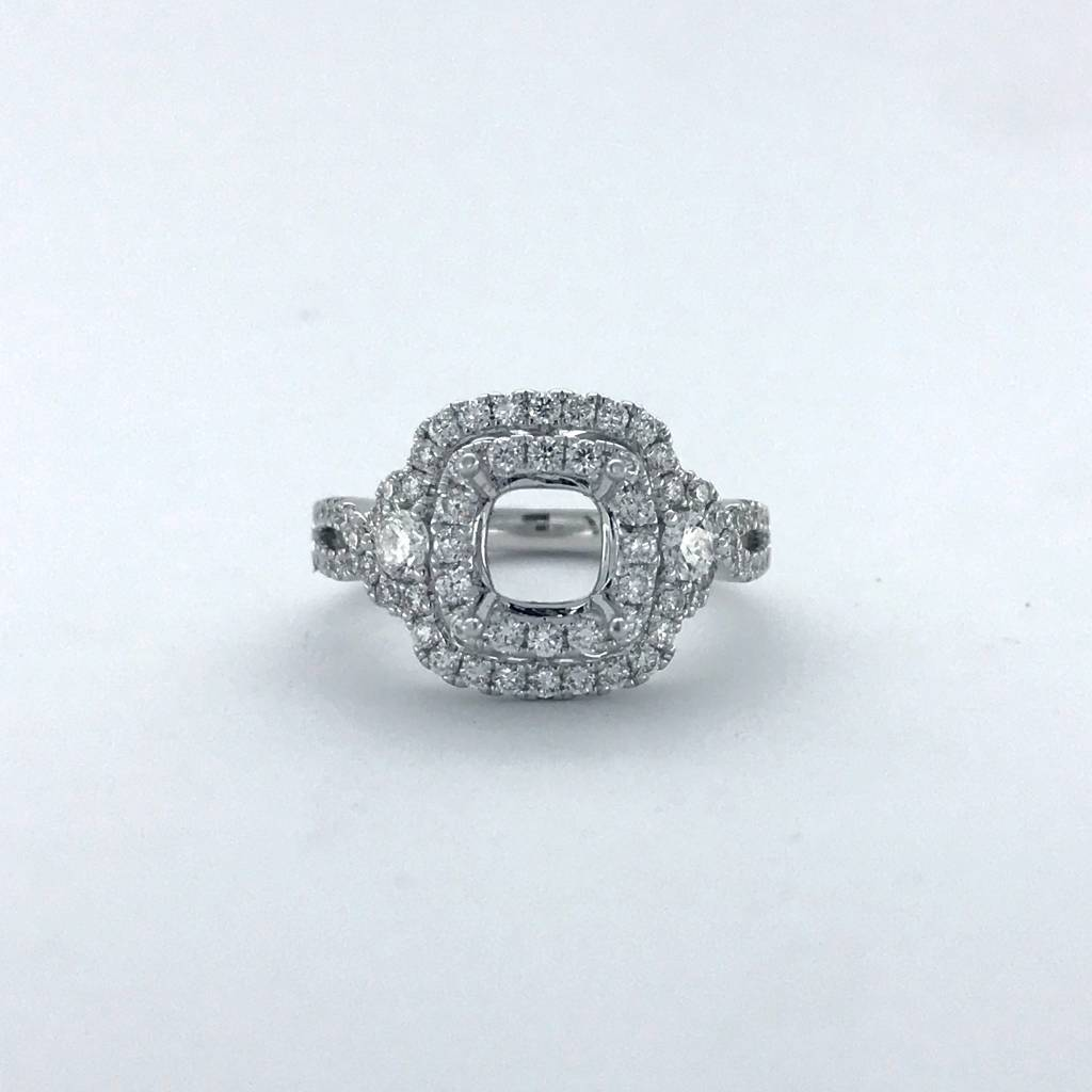 Mount Juliet 14k White Gold .42ctw Diamond Double Cushion Halo Semi Mount Engagement Ring (Size 6)