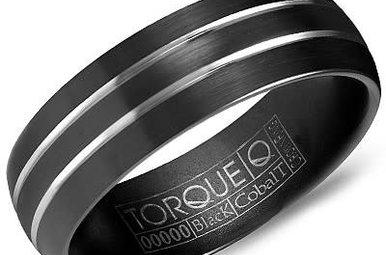 Black Cobalt 7mm Gents Torque Wedding Band, Size 10