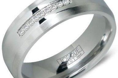 Cobalt .06ctw Diamond Gents 7mm Torque Wedding Band, Size 10