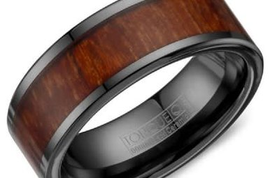 Black Ceramic / Wood Inlay 9mm Gents Torque Wedding Band, Size 10