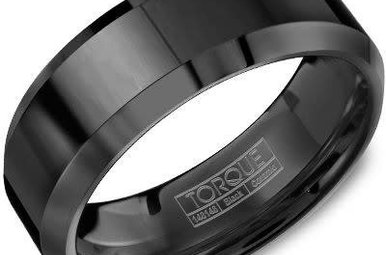 Black Ceramic 8mm Gents Torque Wedding Band, Size 10