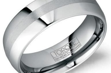 Tungsten 8mm Gents Torque Wedding Band, Size 10