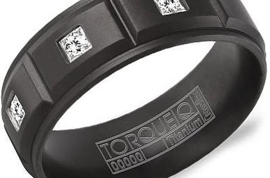 Black Titanium .12ctw Diamond 8mm Gents Torque Wedding Band, Size 10