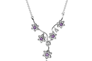 PANDORA Necklace, Forget Me Not, Purple & Clear CZ - 45 cm / 17.7 in