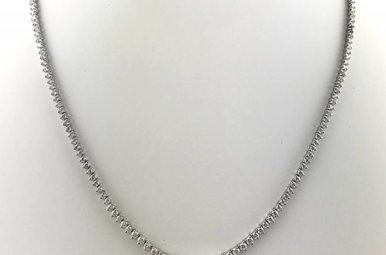 18k White Gold 4ctw Diamond Graduated Rivera Tennis Necklace 17""