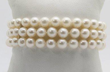 """14K White Gold 6.5-7mm Freshwater Pearl Triple Strand Bracelet, 7.25"""""""